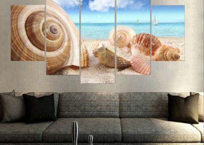 Nouveau-Style-5-Avion-Conque-Paysage-Peintures-À-L-huile-Art-Mural-Décoration-de-La-Maison